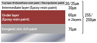 Paint specification for outer surface