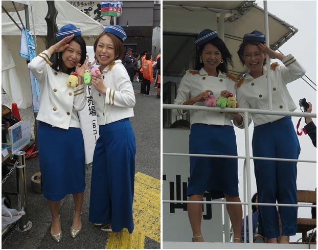 切符売り場とクルーズ船上で「わたる」を手にポーズするフェリーズ(なんて優しい方達!)