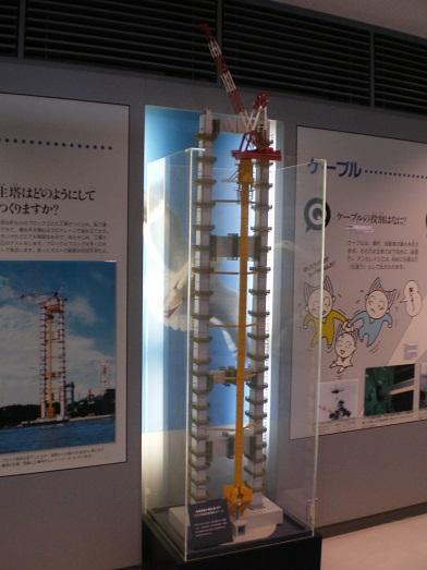 来島海峡大橋主塔の架設状況の模型