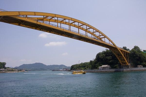 高根大橋と高速船