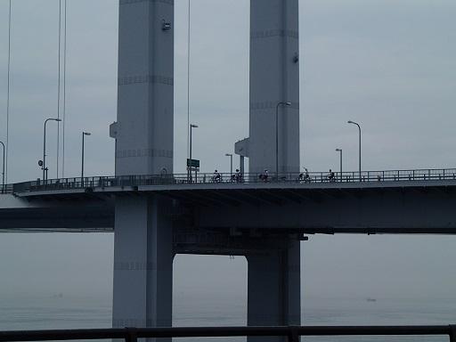 来島海峡大橋を自転車で渡る生徒の皆さん